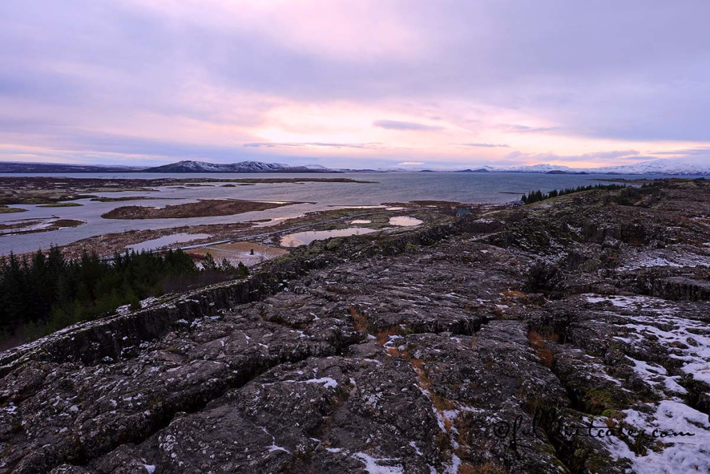 Thingvellir National Park landscape and dramatic sky in winter