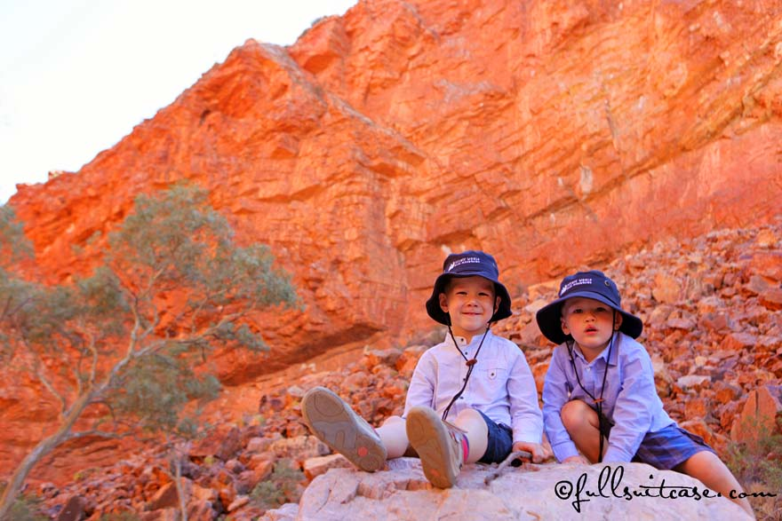 Kids at the Simpsons Gap in West MacDonnell Ranges Australia