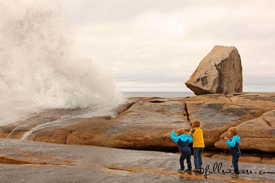 Kids Watching Bicheno Blowhole in Tasmania
