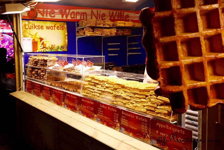 Belgian Waffles for sale at Antwerp Christmas market