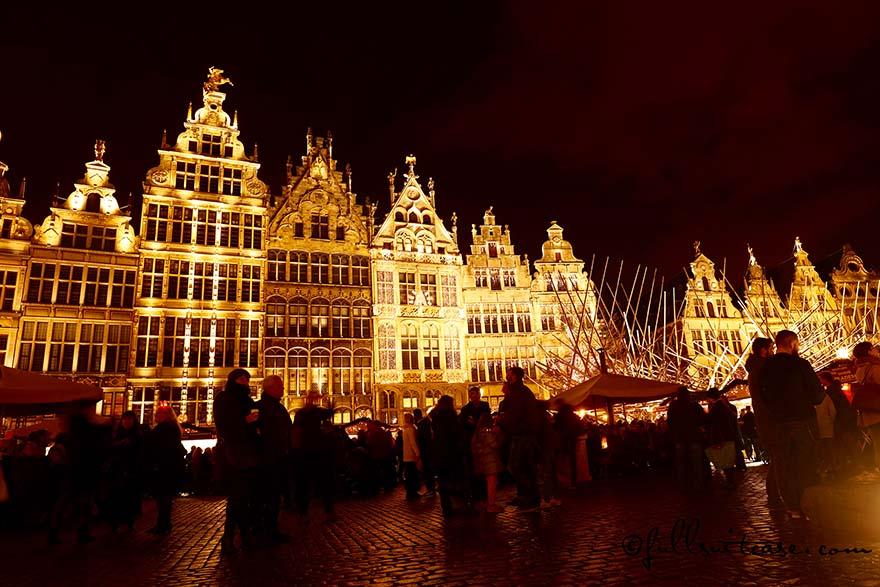 Grote Markt buildings lit at night during Antwerp Christmas market