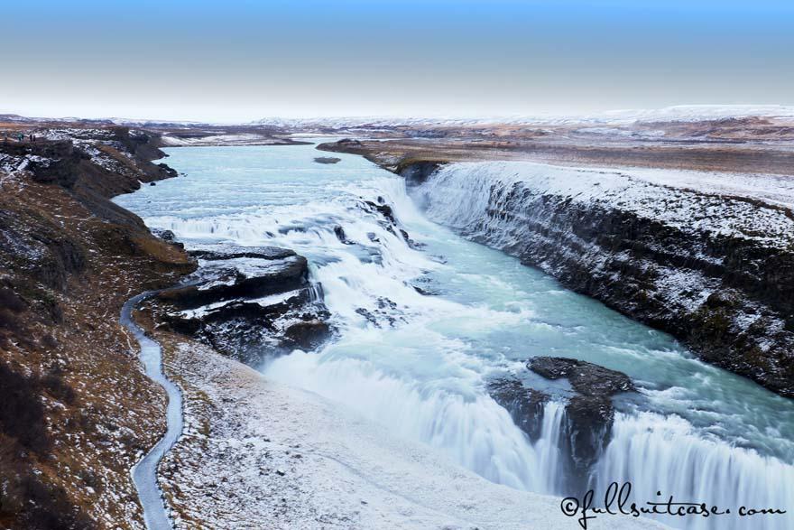 Gullfoss waterfall in Iceland in winter