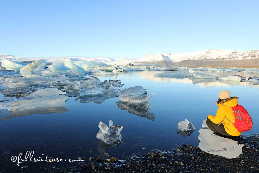 Hiker at Jokulsarlon Glacier Lagoon in Iceland