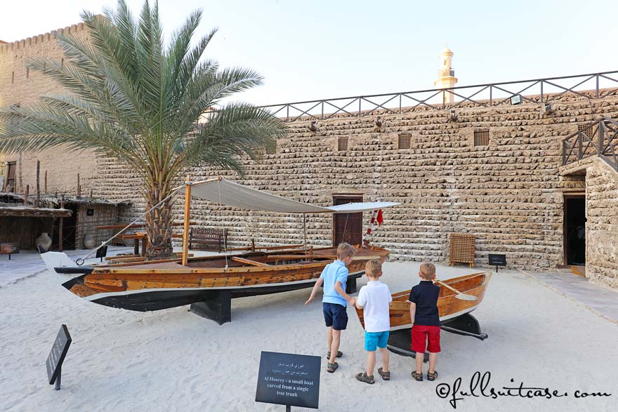 Traditional wooden boats at Dubai Museum