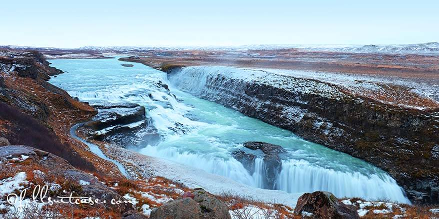 Gullfoss golden waterfall Iceland