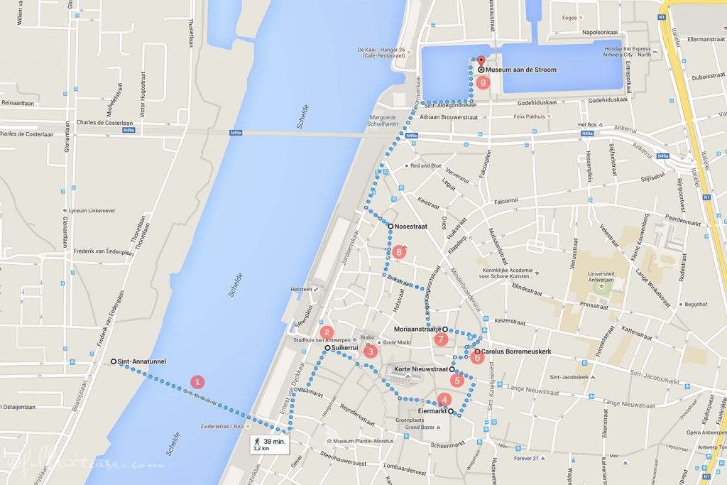 Antwerp with kids walking route map and itinerary