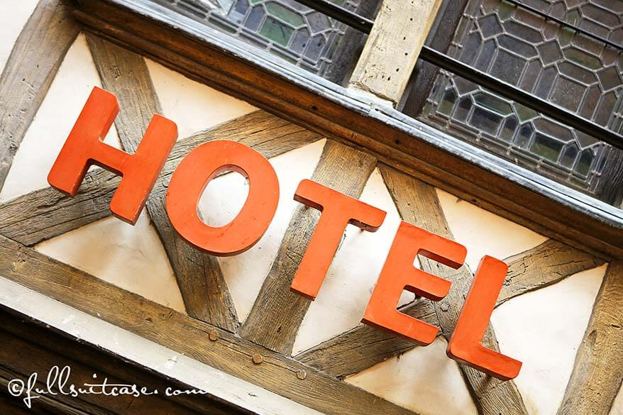 Hotel sign in Normandy France