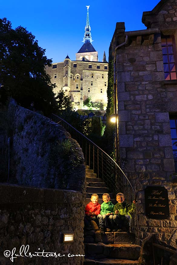 Kids at Mont St Michel in the evening
