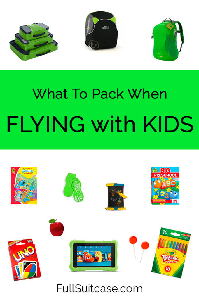 Packing list for flying with young children