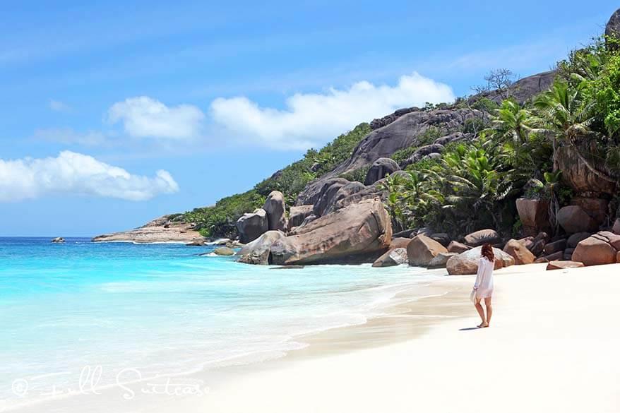 Grande Soeur magnificent white sand beach Seychelles
