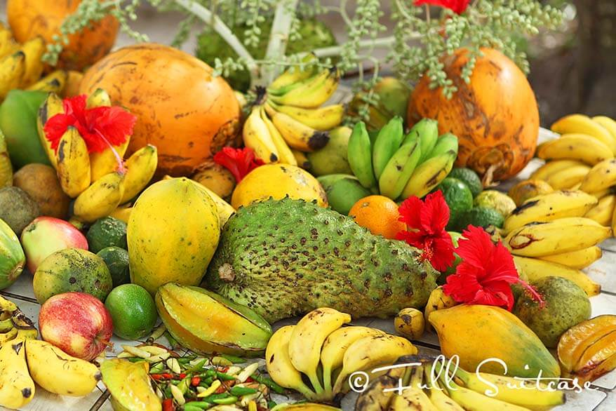 Exotic fruit for sale at a local market in Seychelles