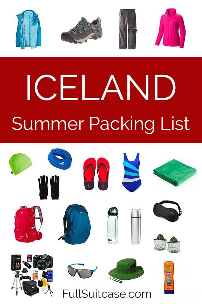 Iceland summer packing essentials - what to wear and pack for Iceland in June, July and August