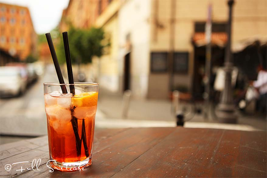 Italian Spritz at cafe in Trastevere in Rome