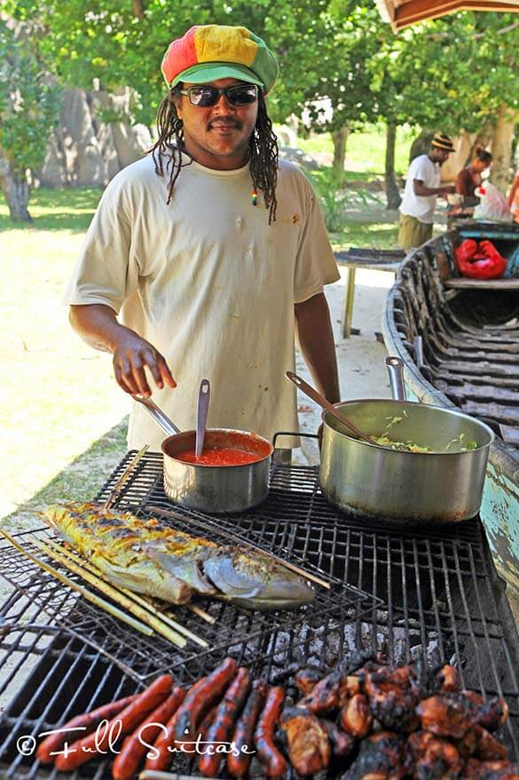 Seychelles food - fish bbq on Grande Soeur island