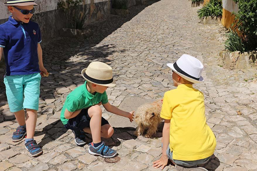 Kids on a city trip in Lisbon Portugal