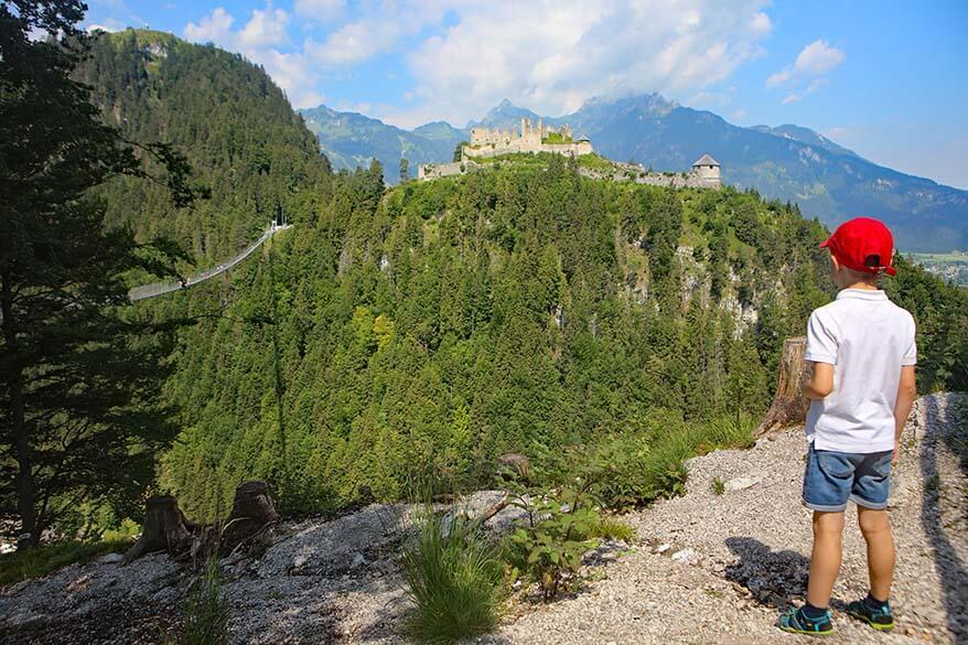 Visiting Highline179 suspension bridge in Austrian Tirol with children