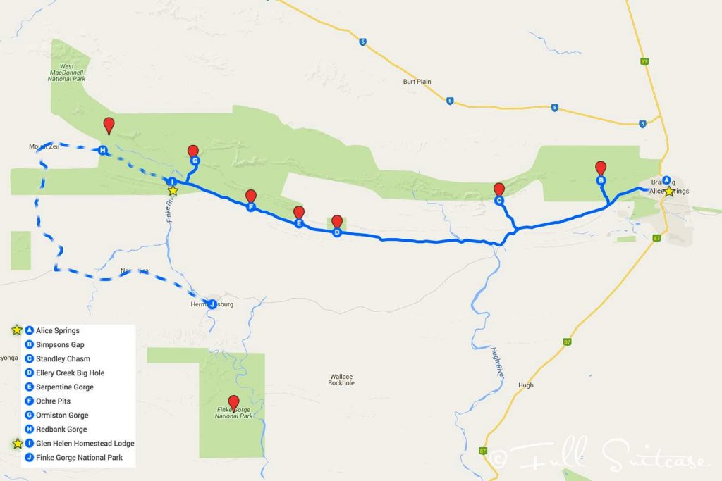 West MacDonnell Ranges itinerary and route map