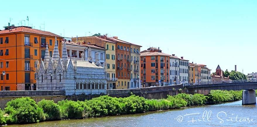 Arno Promenade and Church of Santa Maria Della Spina in Pisa