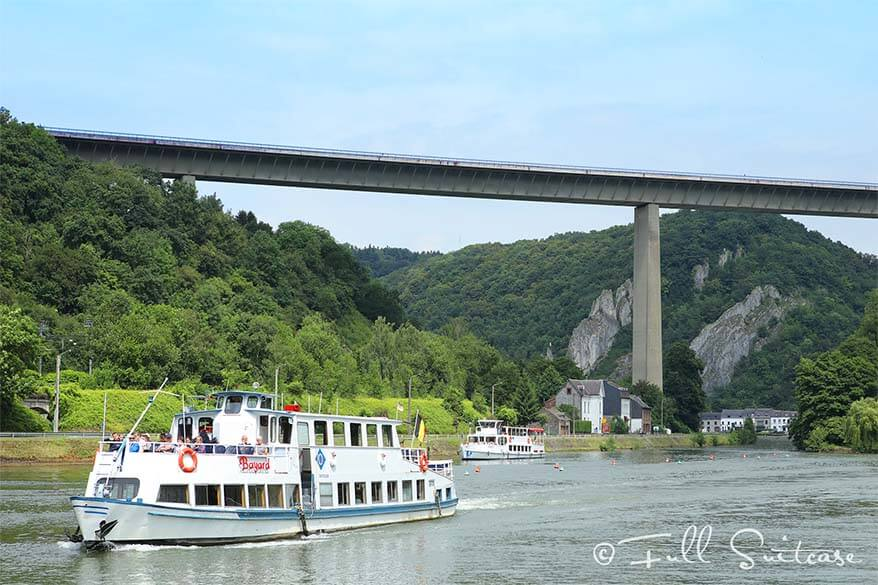 Boats on the Meuse River near Dinant in Belgium