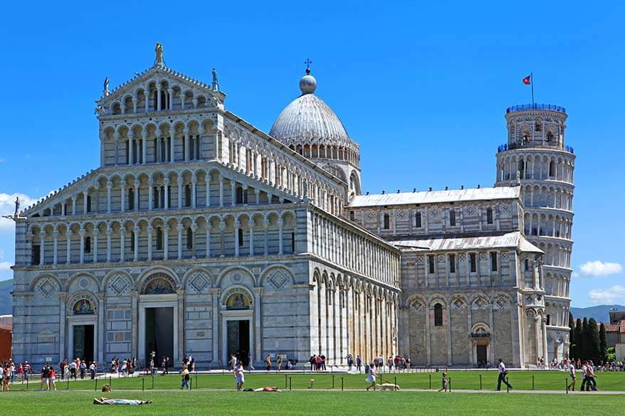The Miracle's Square and the leaning tower of Pisa in Italy