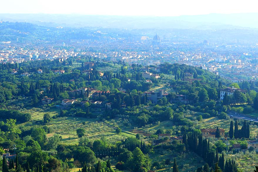 Tuscany itinerary - Florence as seen from the road to Fiesole