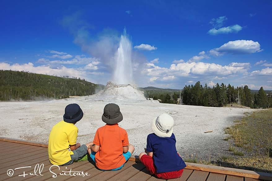 Family trip to Yellowstone NP - Castle Geyser