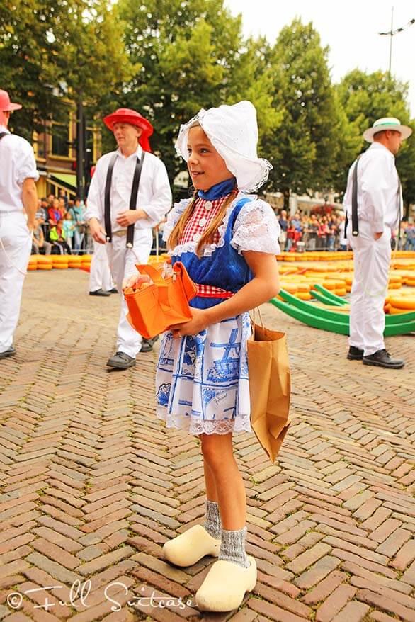 Little Dutch cheese girl at Alkmaar cheese market
