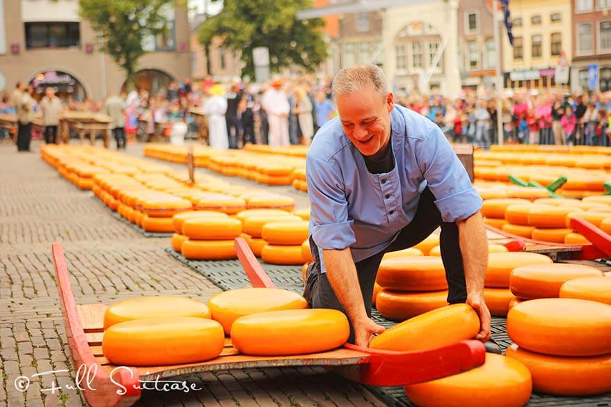 Loading the cheese at Alkmaar cheese market