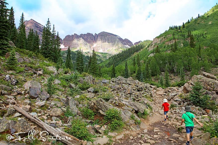Maroon Bells Crater Lake hike with kids