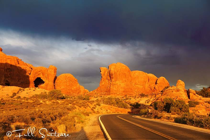 Scenic road at Arches National Park