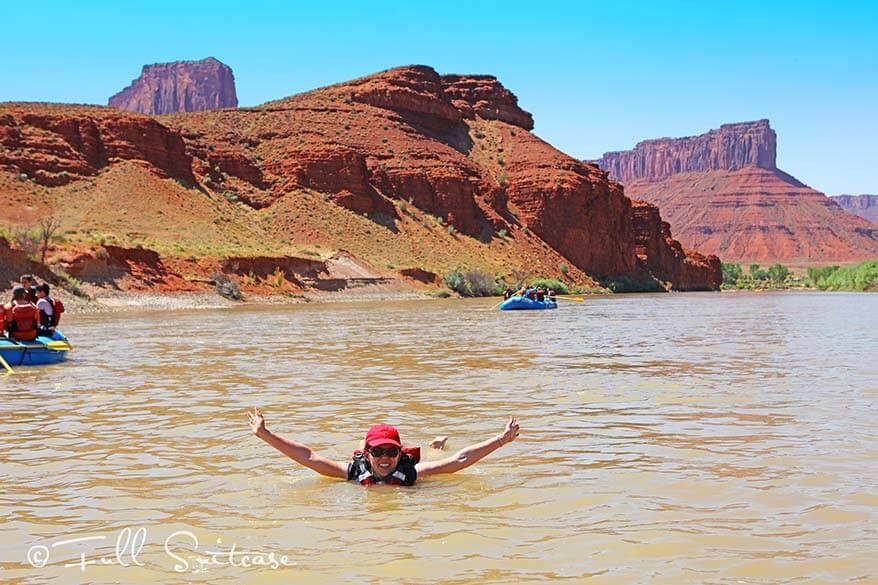 Rafting and swimming in the Colorado river, USA