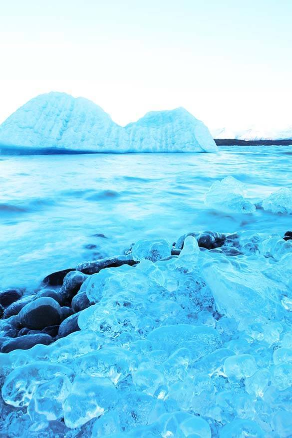 Fjallsarlon glacier lagoon in Iceland frozen in winter