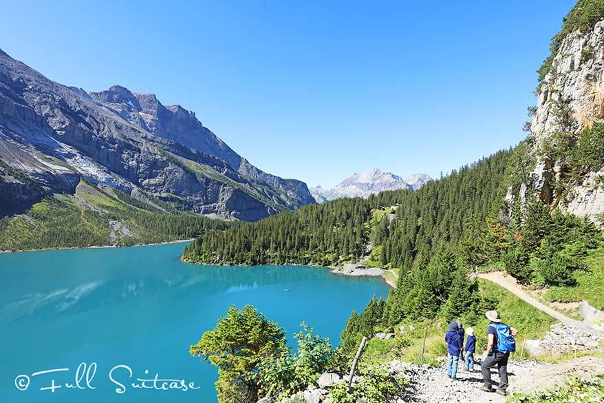 Family hiking at Oeschinen Lake with kids