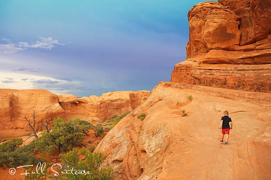 Hiking the Delicate Arch trail with young kids