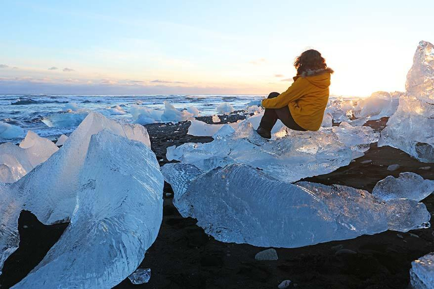 Icebergs on Jokulsarlon Diamond beach in Iceland in winter