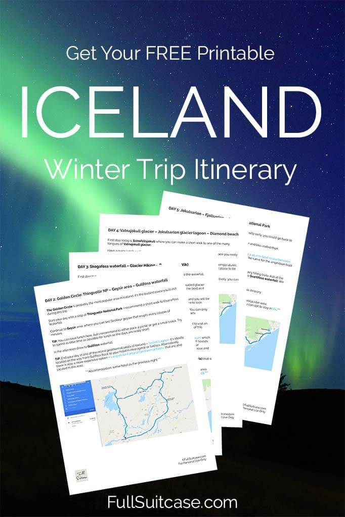 Printable Iceland itinerary for a self-drive winter trip