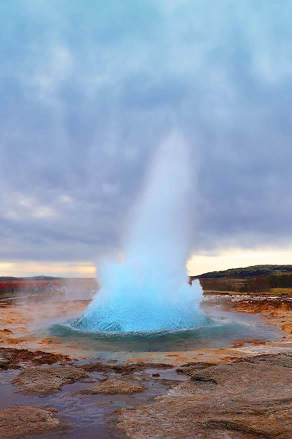 Strokkur geyser in Geysir, Golden Circle, is one of the main landmarks of Iceland