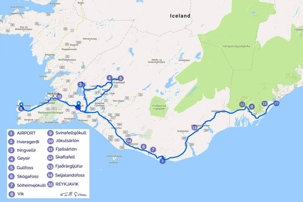 The best iceland winter trip itinerary for one week suggested iceland winter trip itinerary map sciox Gallery