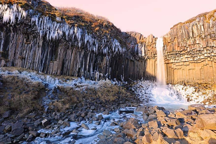 Svartifoss waterfall in Skaftafell NP in Iceland in winter
