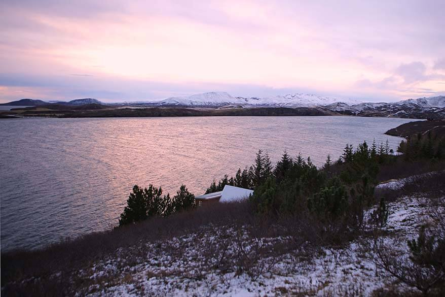 Winter sunrise over a lake at Thingvellir National Park along the Golden Circle in Iceland