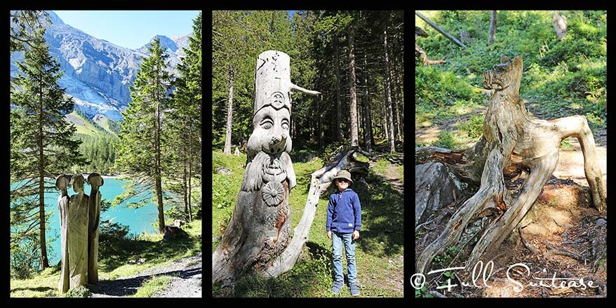 Wooden sculptures at Oeschinen Lake