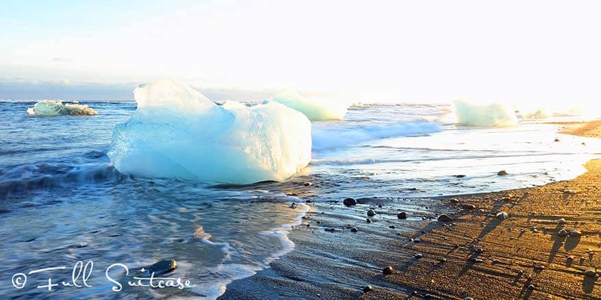 Icebergs on Jokulsarlon beach in winter
