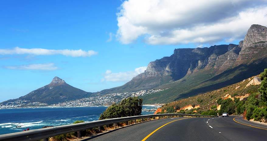 The Twelve Apostles scenic drive near Cape Town in South Africa