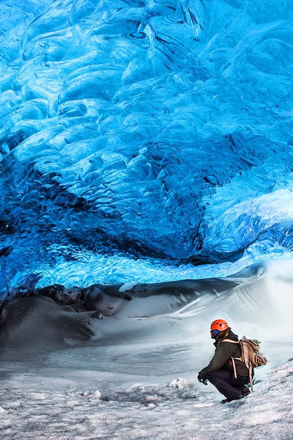 Visiting a natural ice cave - one of the best things to do in Iceland in winter