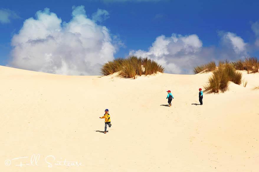 Little Sahara sand dunes - exploring Kangaroo Island with kids