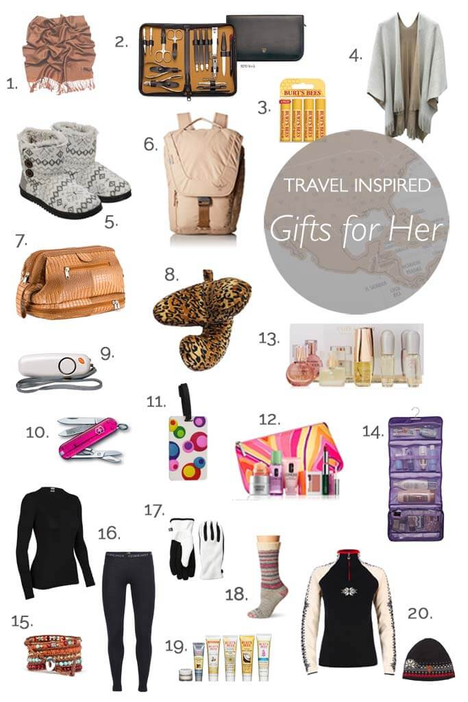 Travel inspired gifts for women. Holiday, birthday - there is something in this list for every travel loving girl!