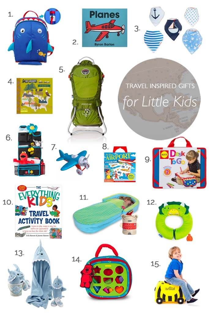 Best travel gifts for babies and toddlers. Many great non-toy holiday and birthday gift ideas for the youngest globetrotters