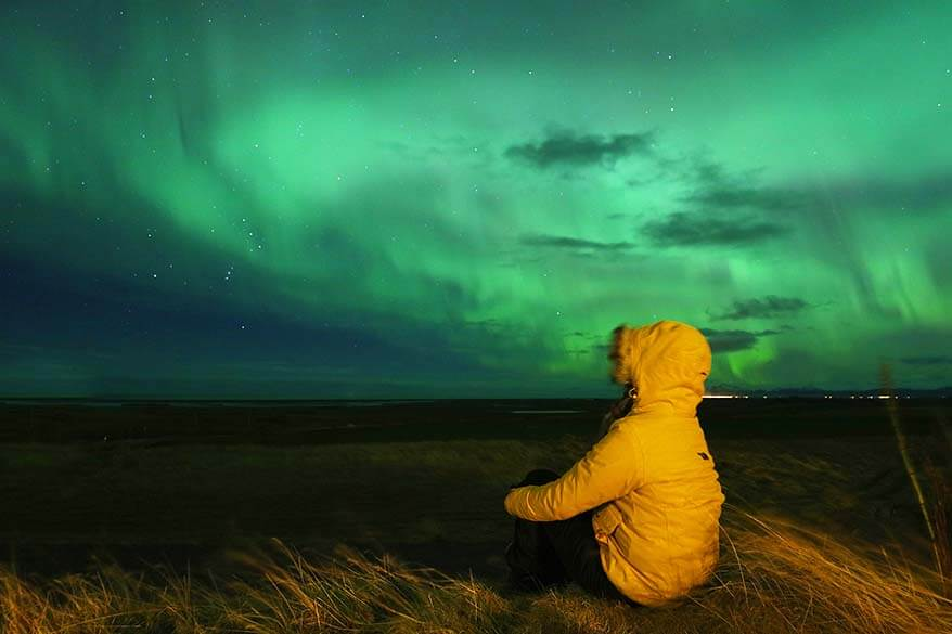 Watching northern lights in Iceland