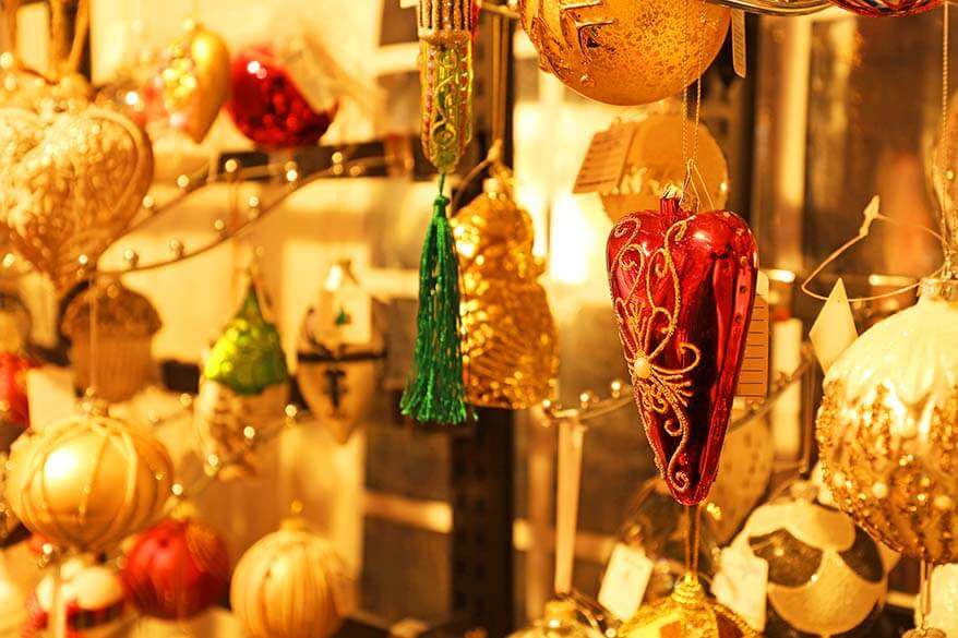 Christmas ornaments at the Christmas market