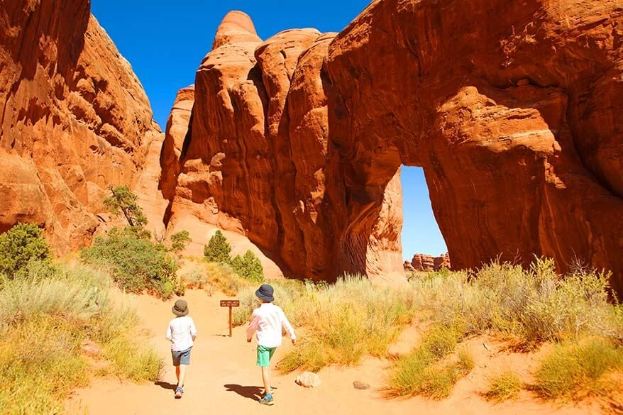 Hiking in Arches National Park with kids